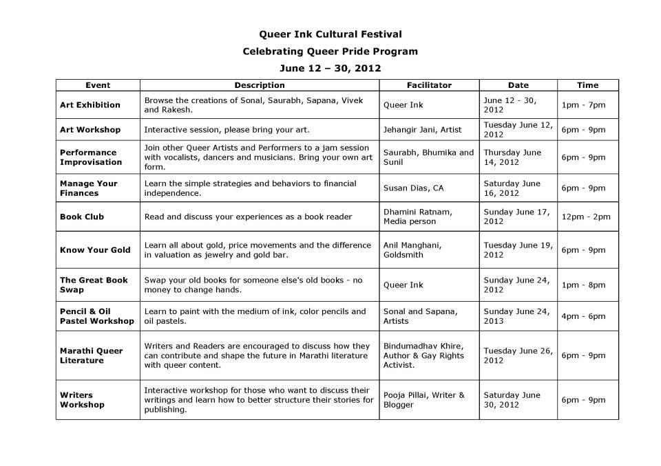 Queer Ink Cultural Festival : Celebrating Queer Pride (June 2012)