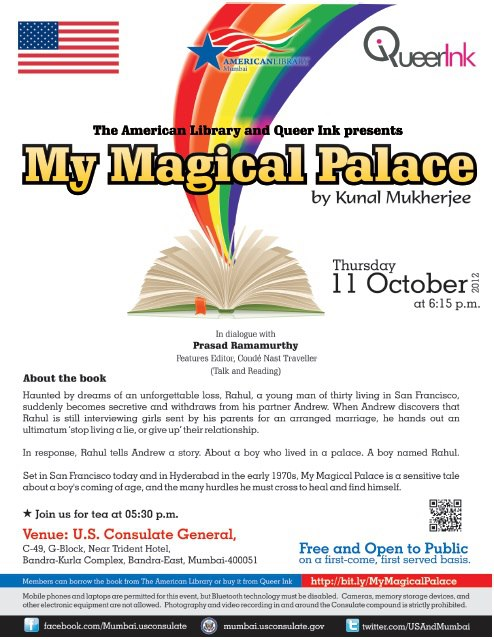 Queer Ink Presents Book Reading & Discussion of 'My Magical Palace', a Novel by Kunal Mukherjee