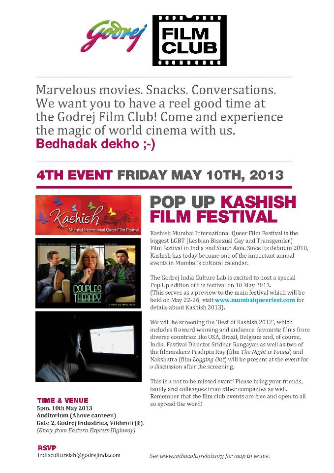 Godrej Film Club Presents Pop Up Kashish