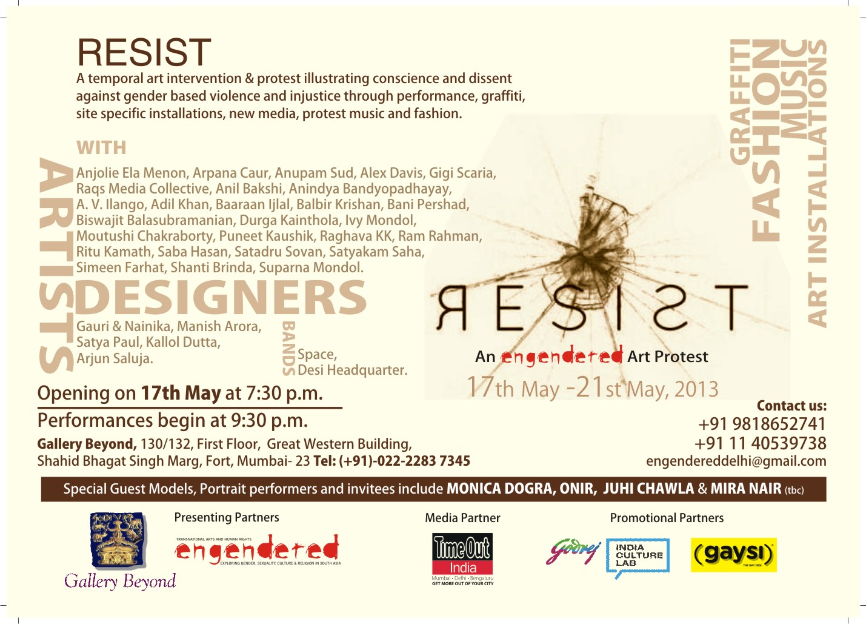 b- Art Resist MUMBAI Card (Back)