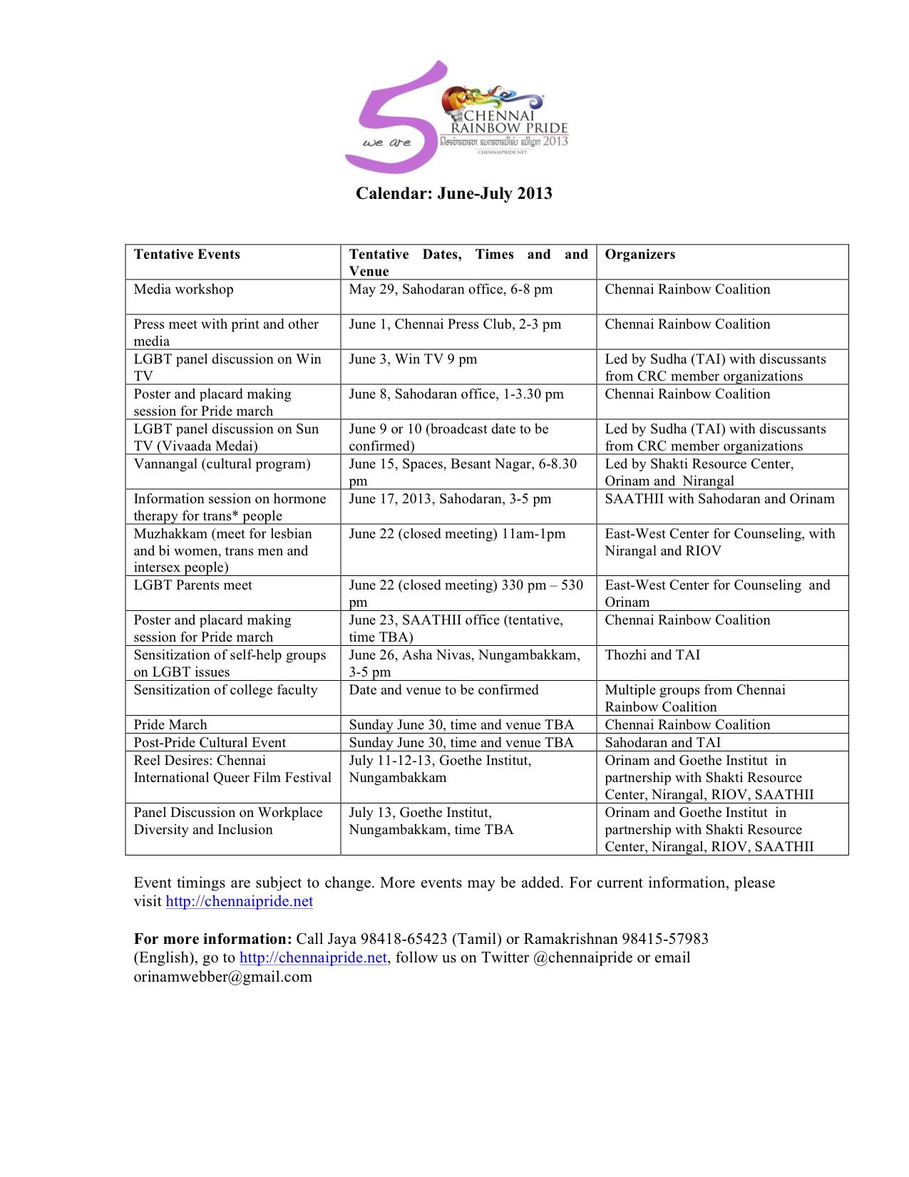 Chennai Rainbow Pride 2013 (Press Release & Schedule)