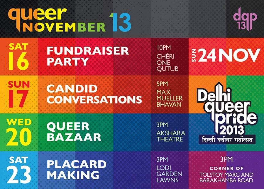 Delhi, Pune & Bangalore 2013 Pride Festivities Details