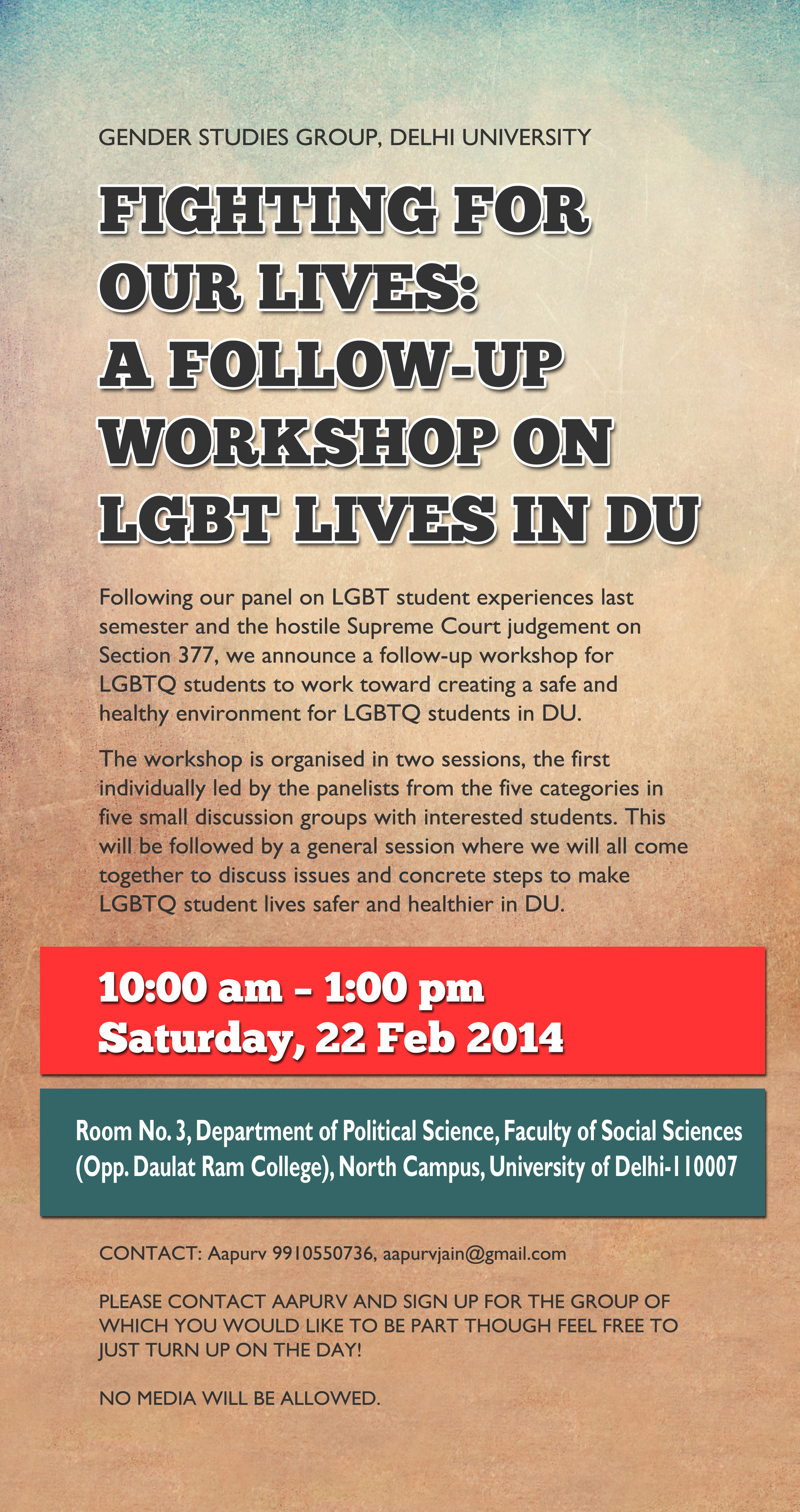 Fighting for Our Lives : A Follow-Up Workshop on LGBT Lives in DU