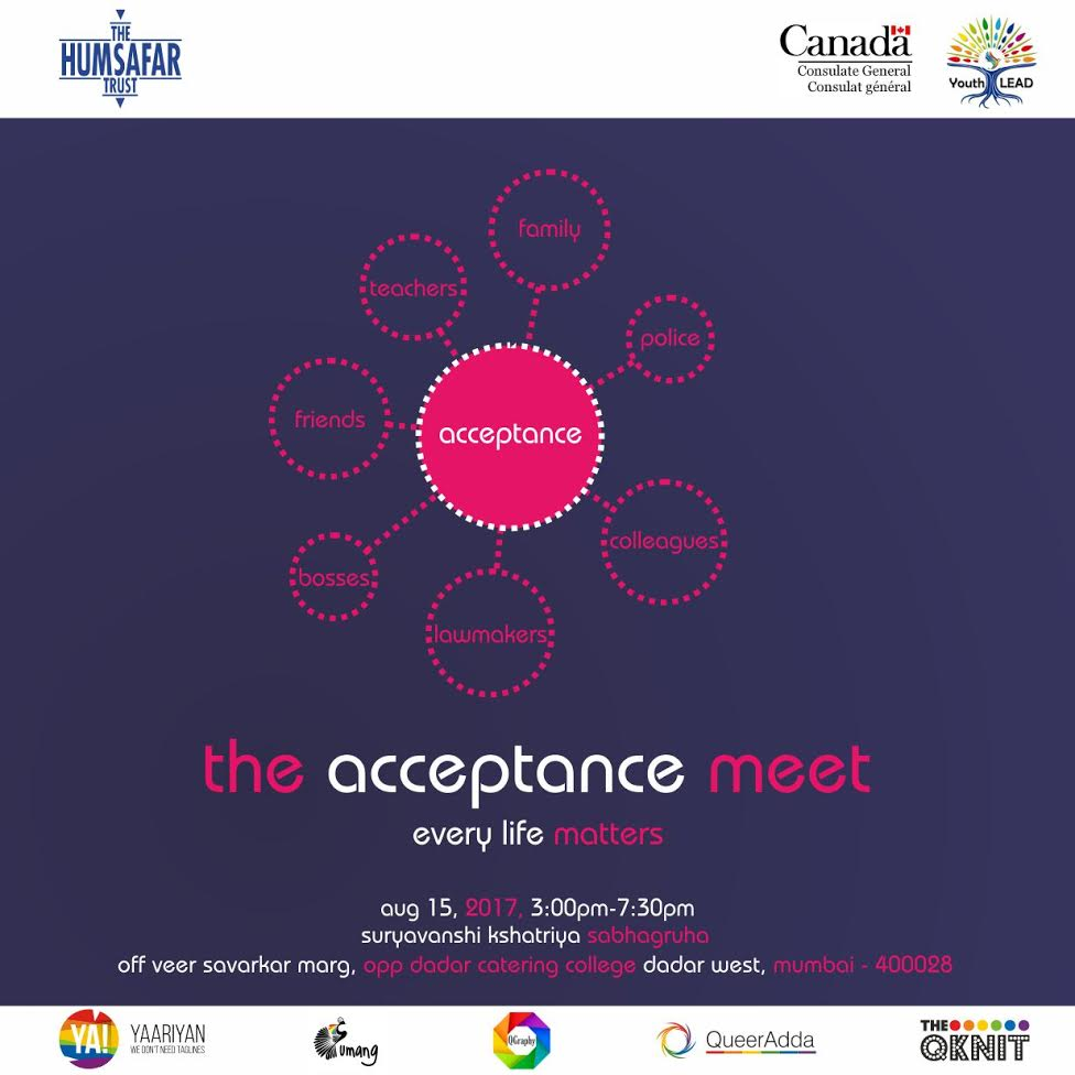"""Queer Support Groups Yaariyan & Umang Bring To You """"The Acceptance Meet 2017"""" This 15th August"""