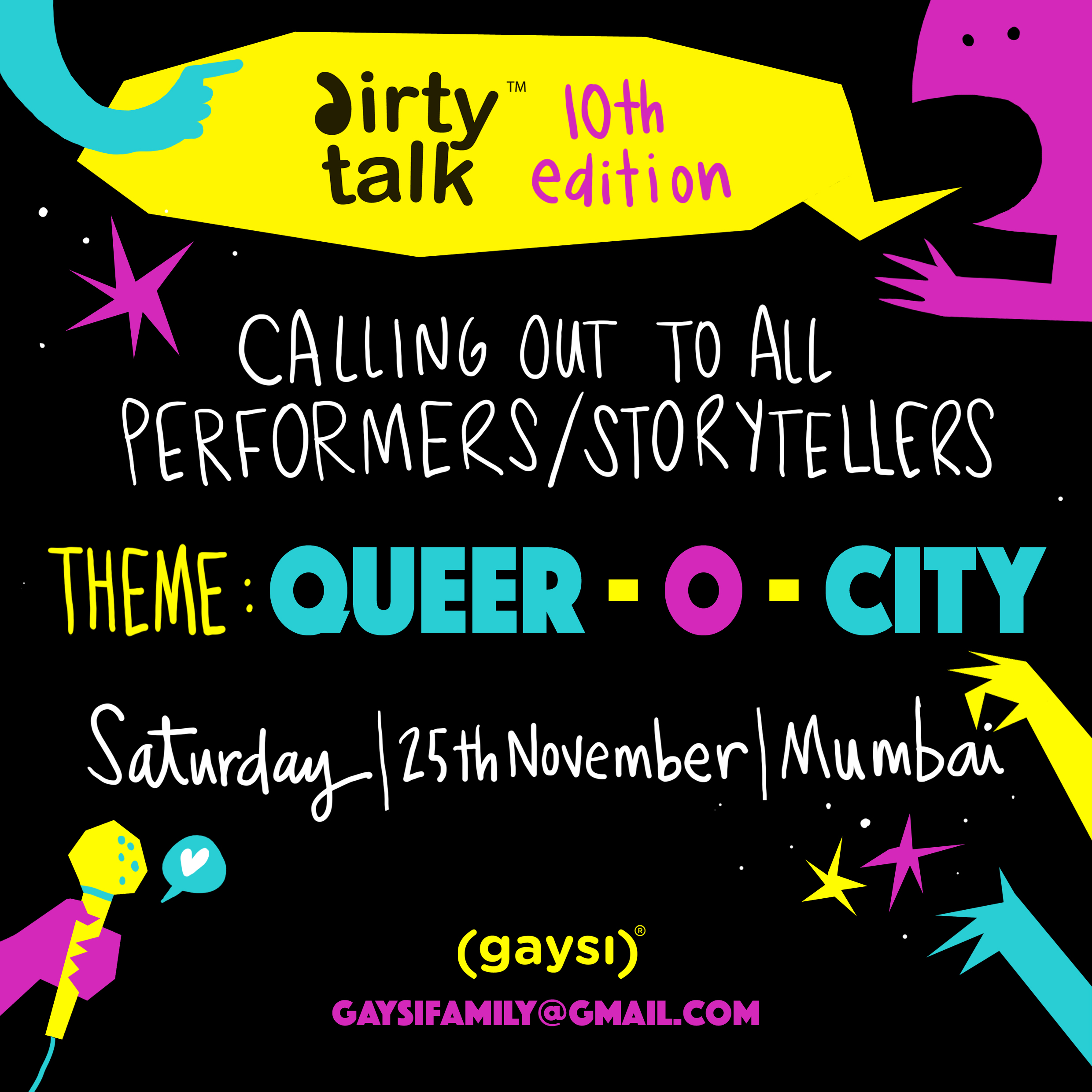 Queer-O-City: Dirty Talk Is Back With Its X-tra Special 10th Edition. Inviting Performers & Storytellers Now!