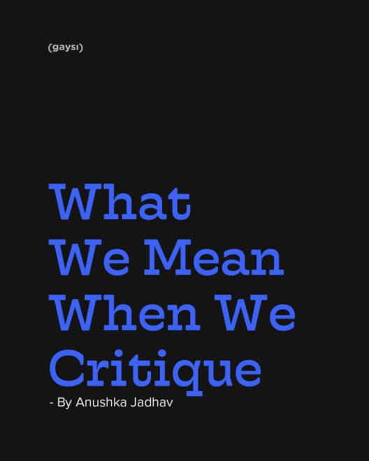 What We Mean When We Critique